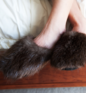 Full Fur & Suede Beaver Slippers