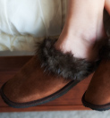 Suede Slippers with a Fur Trim